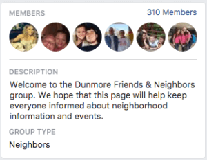 Dunmore Subdivision - Friends and Neighbors Facebook Group Description